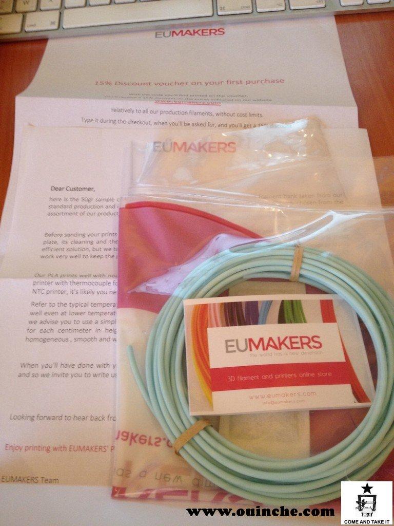 Échantillon de chez EuMakers, livré avec ses recommandations de prints et ses 15% de reduc sur la prochaine commande ...