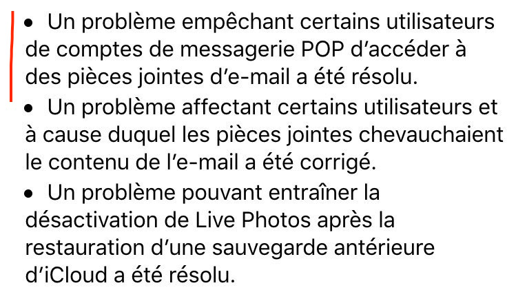 Extrait du Patch Note iOS9.2