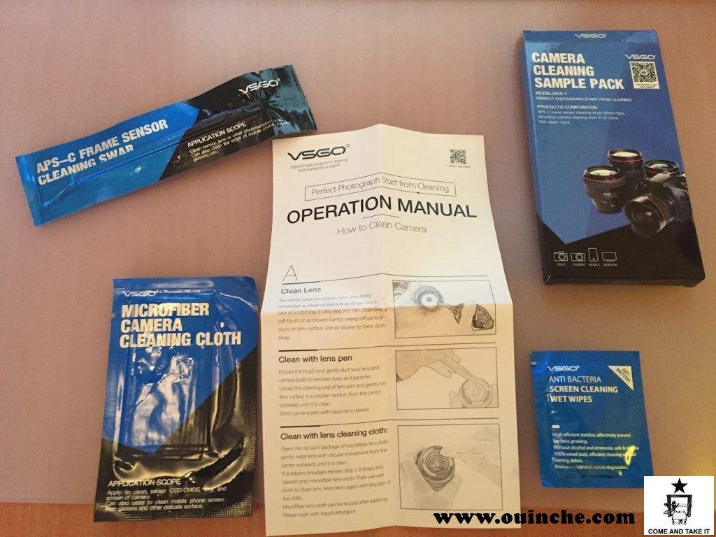 """Kit de nettoyage """"de secours"""" pour le sac avec """"bâtonnet"""", chiffon et lingette anti-bactérienne"""