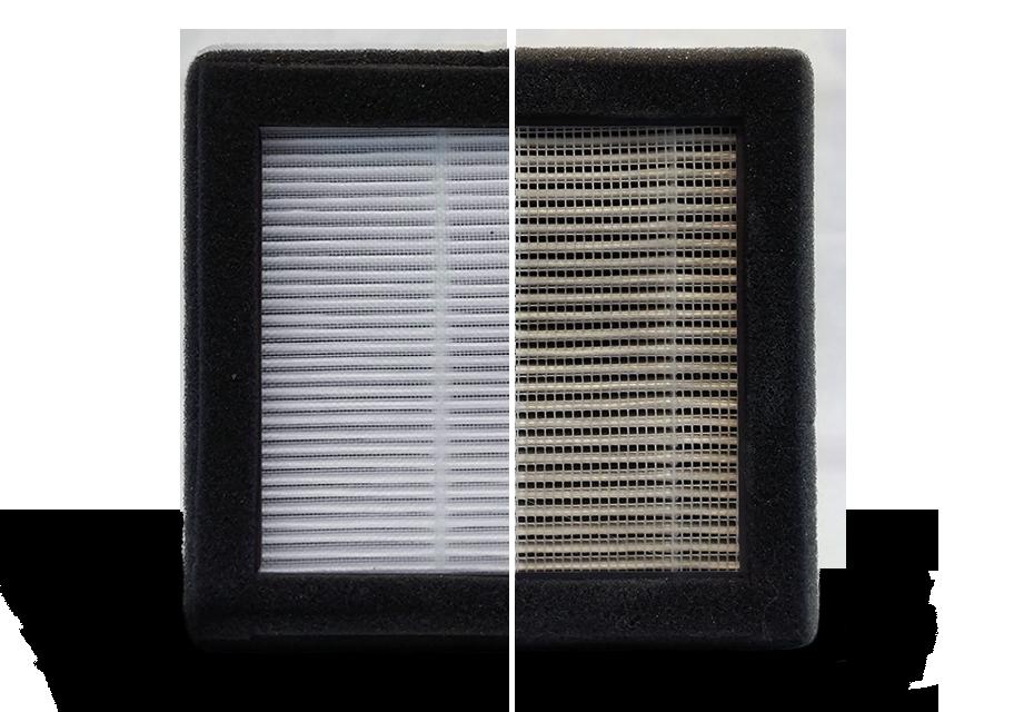 Filtre HEPA 13. Avant et après 300 heures d'impression