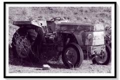 Vieux tracteur, marque inconnue, rouillant au soleil