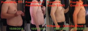 Ouinche de profil - Évolution Sept 2014/Mars 2015 - Fin de semaine 8 Freeletics programme cardio + force